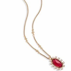 NWT Kendra Scott Brett Necklace Gold Clear Berry